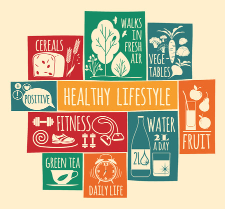 Vector illustration of Healthy lifestyle. Elements for design Çizim