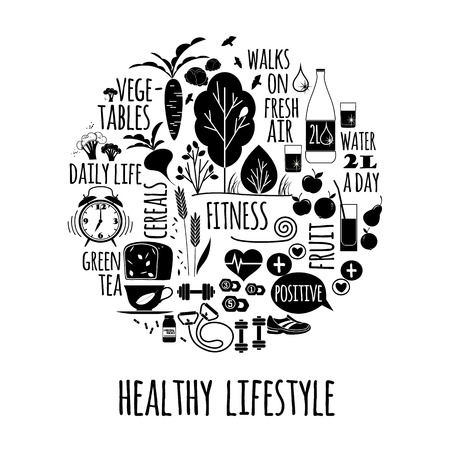 Vector illustration of Healthy lifestyle. Elements for design Vettoriali