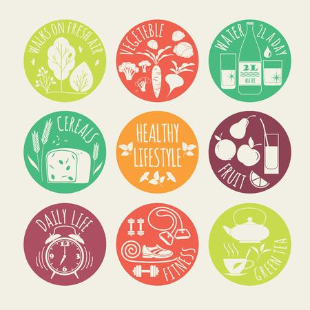 illustration of Healthy lifestyle icon set Stock Illustratie