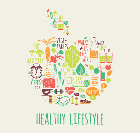illustration of Healthy lifestyle in apple shape  イラスト・ベクター素材