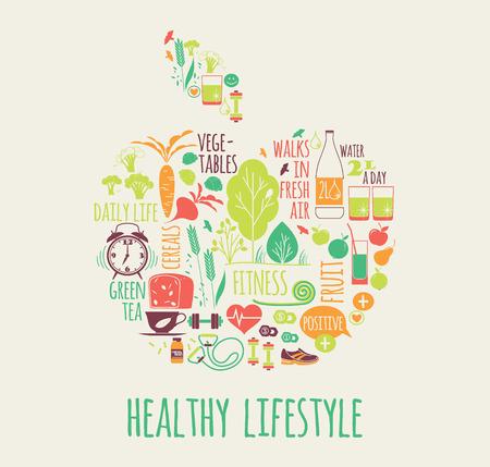illustration of Healthy lifestyle in apple shape 일러스트