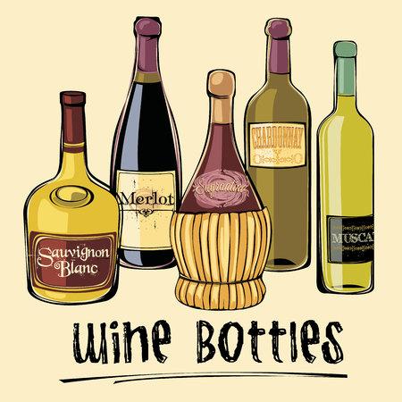 wine label design: Vector illustration of wine bottles. Design element.