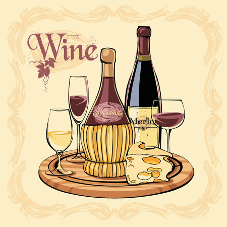 Vector illustration of wine bottles, glasses and cheese. Design element.