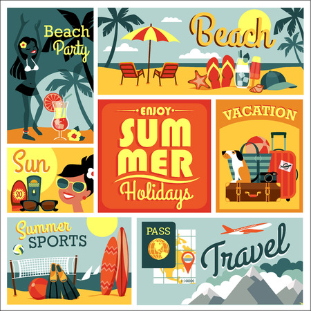 animal family: Vector modern flat design illustration of traditional summer vacation.