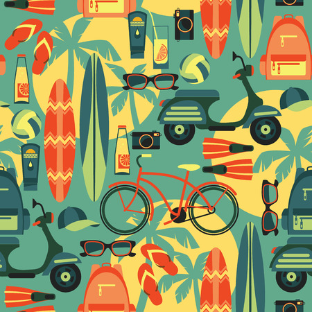 Vector moderne Wohnung, Design, Illustration der aktiven Sommerurlaub. Nahtloses Muster Standard-Bild - 40167428