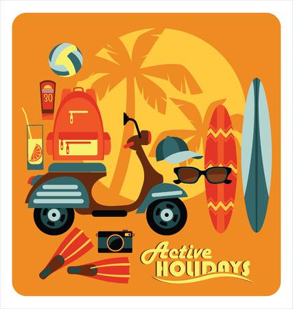 Vector modern flat design illustration of active summer holidays. Illustration