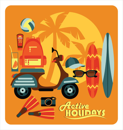 Vector modern flat design illustration of active summer holidays. Ilustrace
