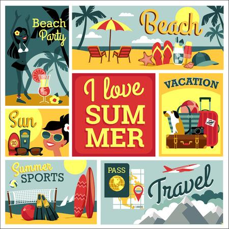 나는 여름을 사랑합니다. 전통적인 여름 휴가 (방학)의 벡터 현대 평면 디자인 일러스트 레이 션. 일러스트