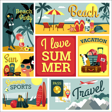 I love summer. Vector modern flat design illustration of traditional summer vacation.