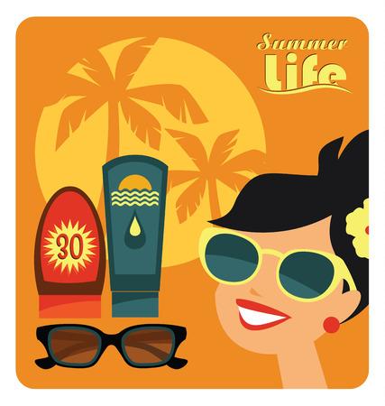 hot woman: Vector modern flat design illustration of sunbathe.