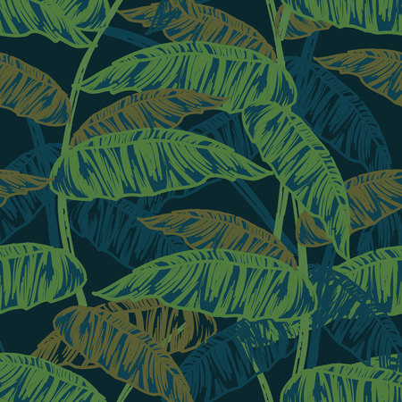 dense: Tropical leaves, dense jungle. Seamless, hand painted. Vector background. Illustration