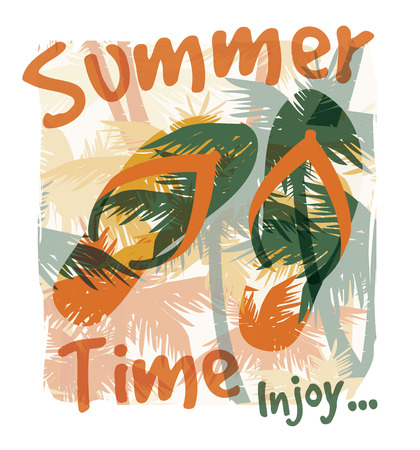 t background: Tropical summer print with slogan for t-shirt graphic and other uses. Vector illustration. Illustration