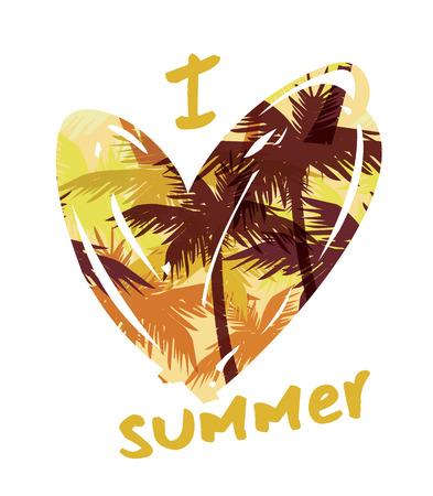 Impresión tropical del verano con el lema de la camiseta gráfica y otros usos. Ilustración del vector.