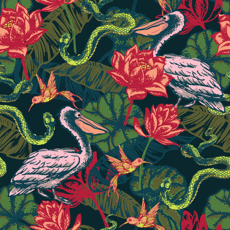 Hand draw tropical fantasy background. Vector illustration. Seamless pattern. Vector