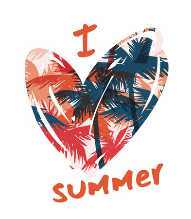 Tropical summer print with slogan for t-shirt graphic and other uses. Vector illustration. Çizim