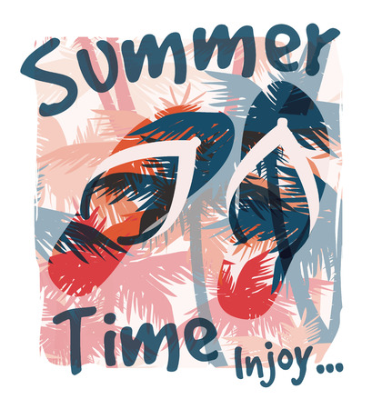 Tropical summer print with slogan for t-shirt graphic and other uses. Vector illustration. Stock Illustratie