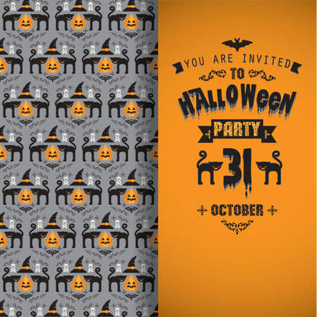monsters house: Invitation to Halloween party.Vector illustration. Illustration