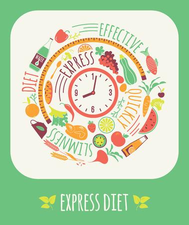 waist weight: Vector illustration of Express Diet. Elements for design