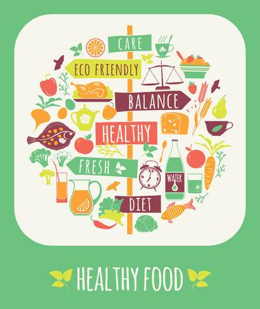 Ilustración vectorial de la Alimentación Saludable. Elementos para el diseño