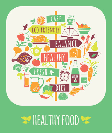diet concept: Vector illustration of Healthy Food. Elements for design