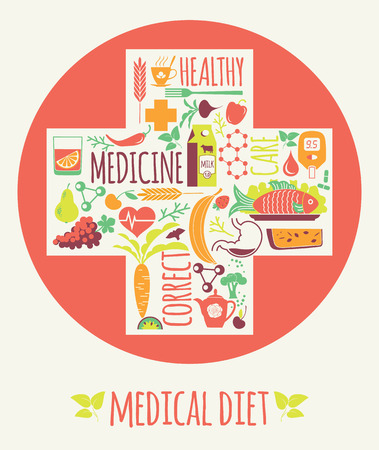 gastrointestinal tract: Vector illustration of Medical diet. Elements for design