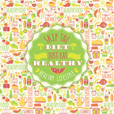 Healthy eating background with quote. Poster with typography. Vector seamless pattern with illustration of healthy food. Çizim