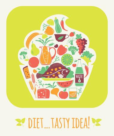 tasty: Vector illustration tasty diet. Elements for design