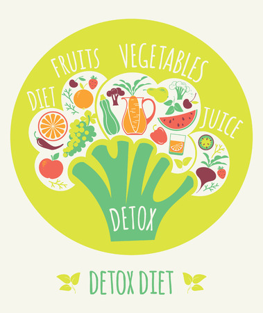 Vector illustration of Detox diet. Elements for design