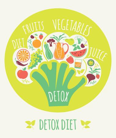 detox: Vector illustration of Detox diet. Elements for design
