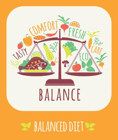 concepto equilibrio: Ilustraci�n vectorial de la dieta equilibrada. Elementos para el dise�o