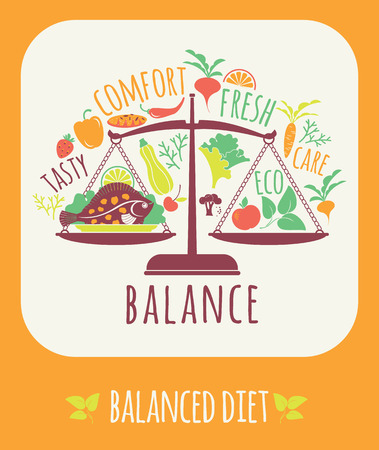 Vector illustration of Balanced diet. Elements for design Çizim
