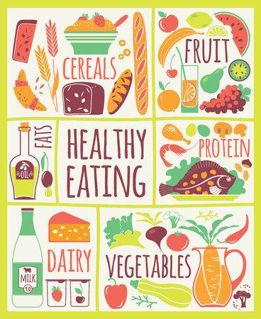 Vector illustration of Healthy Food. Elements for design