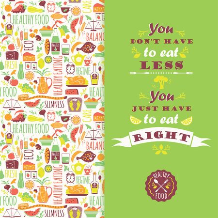 regime: Healthy eating background with quote. Poster with typography. Vector seamless pattern with illustration of healthy food. Illustration