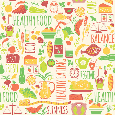 regime: Vector seamless pattern with illustration of healthy food. Elemets for design