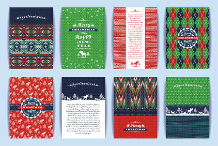 Christmas and New Year Set. Knitted backgrounds. Vector Design Templates Collection for Banners, Flyers, Placards, Posters and other use.