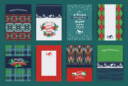 Christmas and New Year Set. Plaid and knitted backgrounds. Vector Design Templates Collection for Banners, Flyers, Placards, Posters and other use.