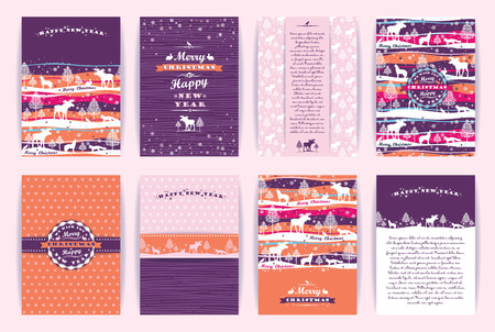 Christmas and New Year Set. Vector Design Templates Collection for Banners, Flyers, Placards, Posters and other use.  イラスト・ベクター素材