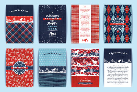 merry: Christmas and New Year Set. Plaid and knitted backgrounds. Vector Design Templates Collection for Banners, Flyers, Placards, Posters and other use.