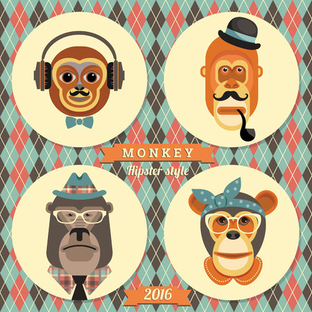 happy new year: Vector illustration of monkeys, symbol of 2016. Trendy hipster style. Element for New Years design. Image of 2016 year of the monkey.