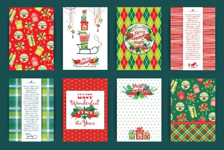 chequered ribbon: Christmas and New Year Set. Vector Design Templates Collection for Banners, Flyers, Placards, Posters and other use. Stock Photo