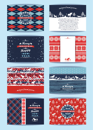 christmas plaid: Christmas and New Year Set. Plaid and knitted backgrounds. Vector Design Templates Collection for Banners, Flyers, Placards, Posters and other use.