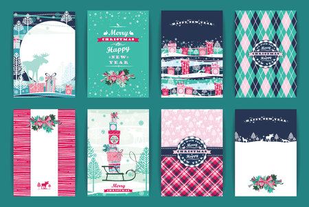 Christmas and New Year Set. Vector Design Templates Collection for Banners, Flyers, Placards, Posters and other use. Ilustracja