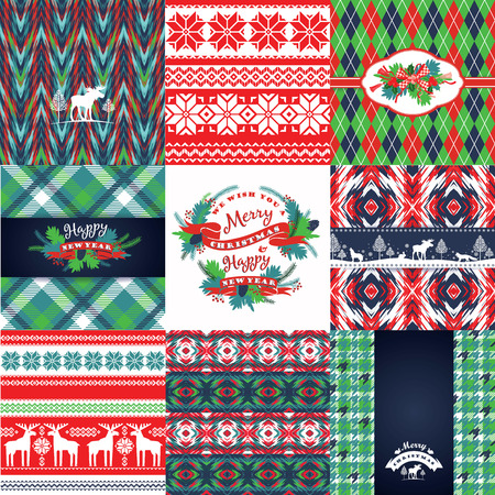 chequered ribbon: Christmas and New Year Set. Vector Design Templates Collection for Banners, Flyers, Placards, Posters and other use. Illustration