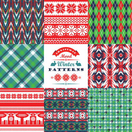 christmas plaid: Christmas and New Year Set. Plaid and ornamental seamless backgrounds. Vector Design Templates Collection for Banners, Flyers, Placards, Posters and other use.