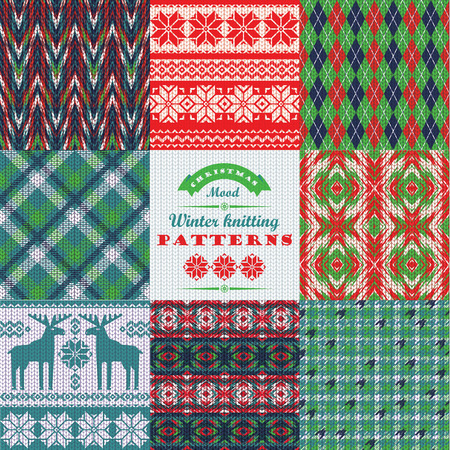 jacquard: Christmas and New Year Set. Plaid and knitted seamless backgrounds. Vector Design Templates Collection for Banners, Flyers, Placards, Posters and other use.