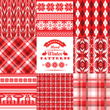 shapes background: Christmas and New Year Set. Plaid and ornamental seamless backgrounds. Vector Design Templates Collection for Banners, Flyers, Placards, Posters and other use.