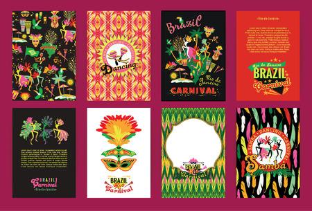 loro: Gran conjunto de Fondos Brasil Carnaval. Patrones para carteles, carteles, volantes y diseños de la bandera.