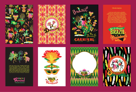 Big set of Brazil Carnival Backgrounds. Patterns for Placards, Posters, Flyers and Banner Designs.