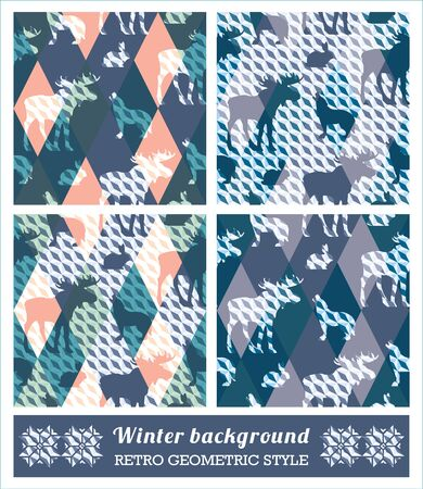 vintage patterns: Winter geometric seamless patterns. Retro style.