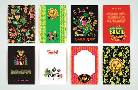 brazil symbol: Big set of Brazil Carnival Backgrounds. Patterns for Placards, Posters, Flyers and Banner Designs.